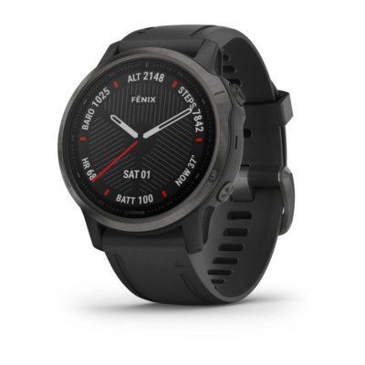 Garmin FENIX 6S SAPPHIRE Schwarz/Schiefergrau DLC mit QUICKFIT-Silikon-Armband 20mm Schwarz