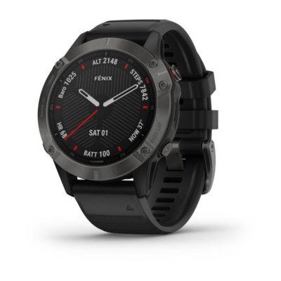 Garmin FENIX 6 SAPPHIRE Schwarz/ Schiefergrau DLC mit QUICKFIT-Silikon- Armband 22mm Schwarz