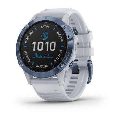 Garmin fenix®6– Pro Solar, Blau mit steinweißem Armband