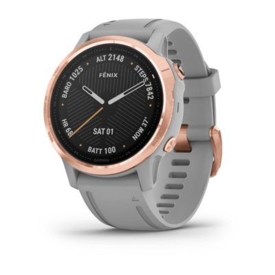 Garmin FENIX 6S SAPPHIRE Grau/Rosegold Saphirglas mit QUICKFIT-Silikon-Armband 20mm Grau