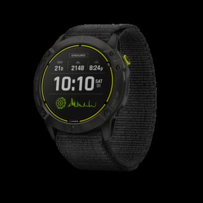 Garmin Enduro Schwarz/Schiefergraues DLC-Titan mit schwarzem UltraFit-Nylon-Armband