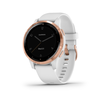 Garmin Vivoactive 4S GPS-Multisport-Smartwatch, weißes Silikonarmband, Rosegold